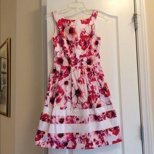 White House Black Market pink red dress